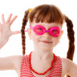 Happy red-haired girl with glasses for swimming — Stock Photo #44030331