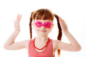 Happy red-haired girl with glasses for swimming — Stock Photo