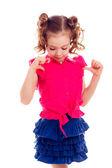 Meisje met twee staarten in blouse en rok — Stockfoto