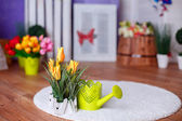 Watering can and a pot of flowers — Stock Photo