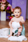 Little baby on the pot — Stock Photo