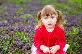 Uma menina sentada na grama com flores silvestres — Fotografia Stock