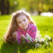 Girl lying on the grass with a bouquet of lilacs — Stock Photo #45315683