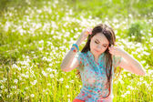 Girl resting on the glade — Stockfoto