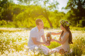 Couple relaxing on the meadow with dandelions on picnic — Stock Photo