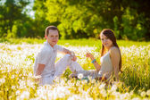 Couple relaxing on the meadow — Stock Photo
