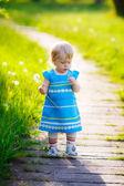Little girl walk in the park — Stock Photo