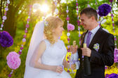Happy newlyweds drinking champagne — Stock Photo