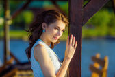 Beautiful bride on the lake — Stock Photo