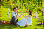Happy newlyweds relax in the park — Stock Photo