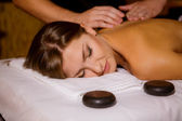 Massage by candlelight ceremony — Stock Photo