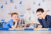 Kids play boat — Stock Photo
