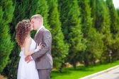 Newly married couple  kissing in park — Stock Photo
