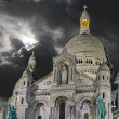 Paris, Dec 12: Sacred Heart Cathedral exterior view in Montmartr — Stock Photo