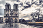 The Notre Dame Cathedral after a storm — Stock Photo