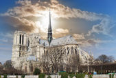 Overview of the Cathedral of Notre Dame from the bank of the riv — Stock fotografie