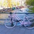 Amsterdam, Netherlands. Bicycle over city channels, typical stre — Stock Photo