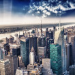 Stock Photo: Aerial view of the skyline of manhattan