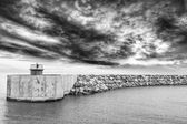 Entrance of the harbor with beautiful sky — Stock Photo