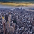 Stock Photo: Aereal view of Manhattat sunset