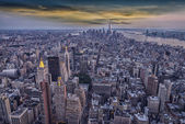 Aereal view of Manhattan at sunset — Stock Photo