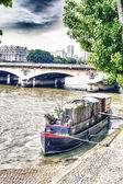 Little boat on the river Seine — Stockfoto