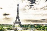 Panoramic view of Eiffel tower — Stock Photo