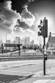 Traffic lights and  London skyline in the background — ストック写真