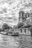 Notre Dame Cathedral view from the river Seine — Stock Photo