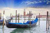 Gondola on background St. George Church in Venice — Foto Stock