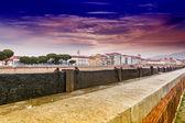 Protection bulkheads to river Arno — Stock Photo