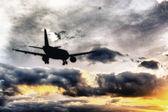 Beautiful view of silhouette of airplane — Stockfoto