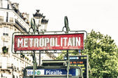Typical sign of metro in Paris — Stock Photo
