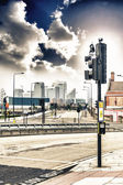 Traffic lights and  London skyline in the background — Stock Photo