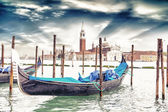 Gondola on background St. George Church in Venice — Stock Photo