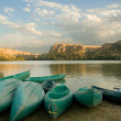 Canoeing along the reservoir. — Stock Photo