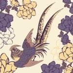 Vector illustration of a bird in a garden — Stock Vector