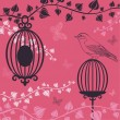 The vector illustration of Birdcage and butterflies - Stock Vector