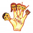 Child's drawing of my family — Stock Vector