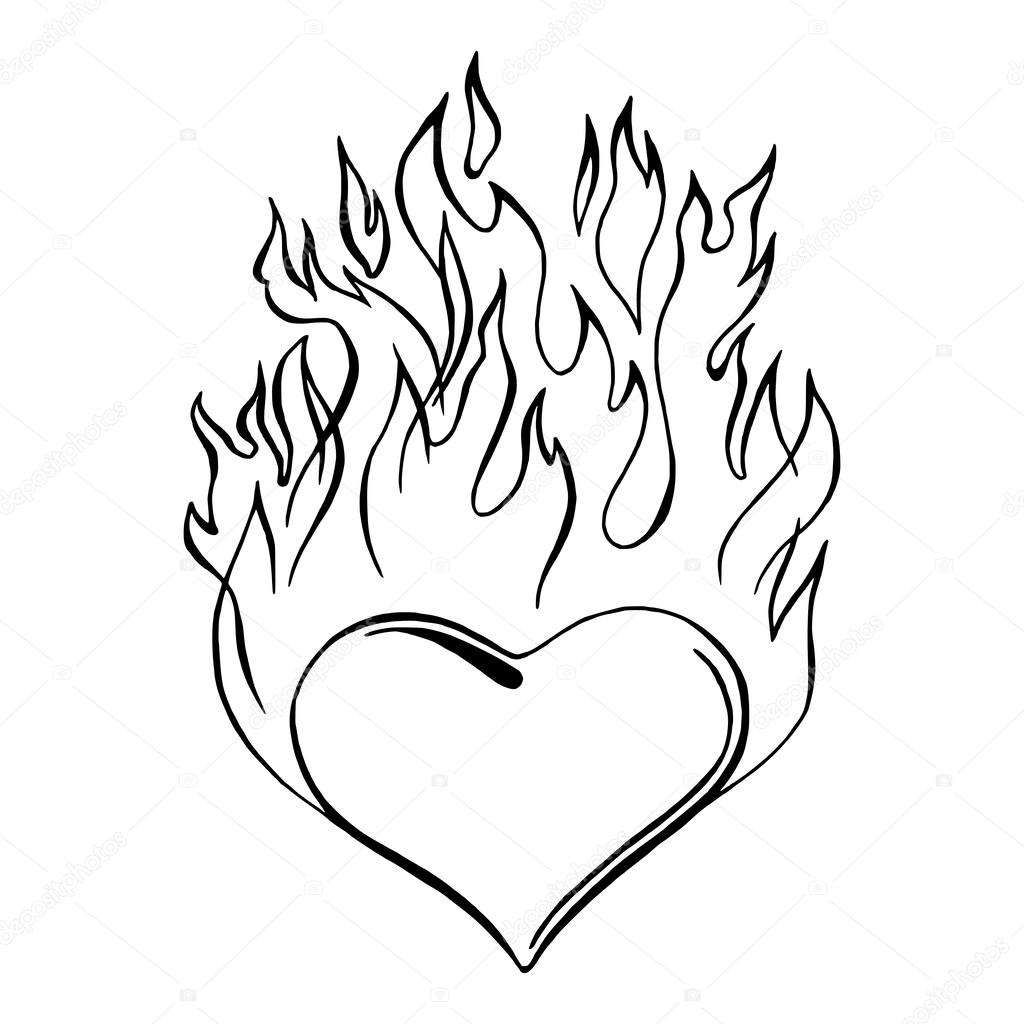 pin hearts with flames colouring pages on pinterest