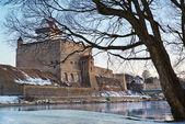 Hermann kasteel van narva fort winterlandschap — Stockfoto