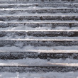Foto Stock: Snow covered stair case composition
