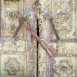 Stock Photo: Old painted wooden boarded door