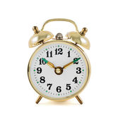 Golden mechanical alarm clock isolated — Stok fotoğraf