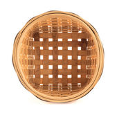 Wooden wicker basket isolated over white — Stock Photo