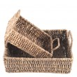 Stock Photo: Two brown wicker baskets isolated