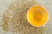 Trasparente tazza di tè verde — Foto Stock