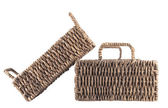 Two brown wicker baskets isolated — 图库照片