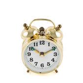 分離された黄金の機械的な目覚まし時計 — ストック写真