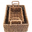 Two brown wicker baskets isolated — Stock Photo